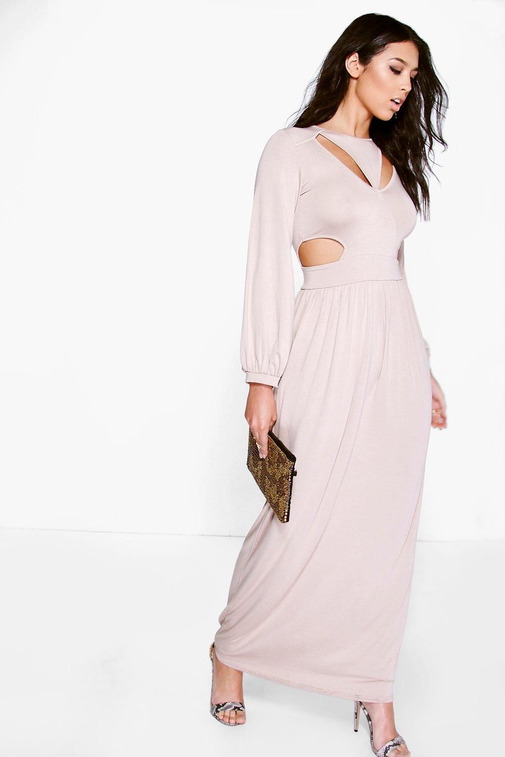 Cut Out Split Side Maxi Dress - sand