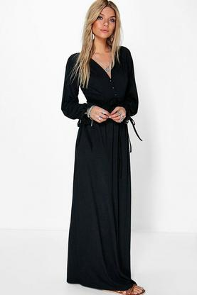 Hallie Ruffle Button Maxi Dress