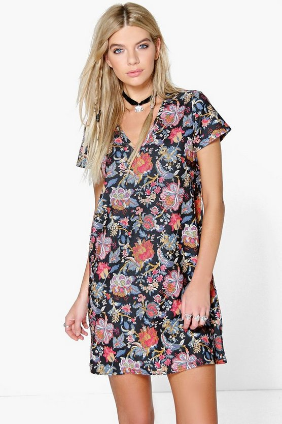 Paulina Bohemia Floral Plunge Shift Dress
