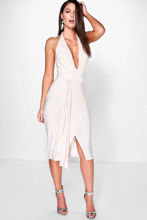 Shahad Slinky Plunge Halter Wrap Skirt Dress