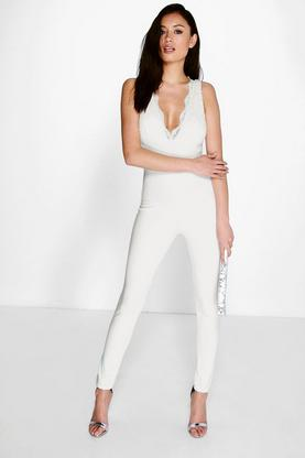 Maria Plunge Neck Lace Jumpsuit