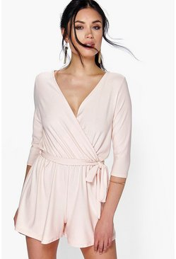 Cleo Wrap Front Self Belt Playsuit