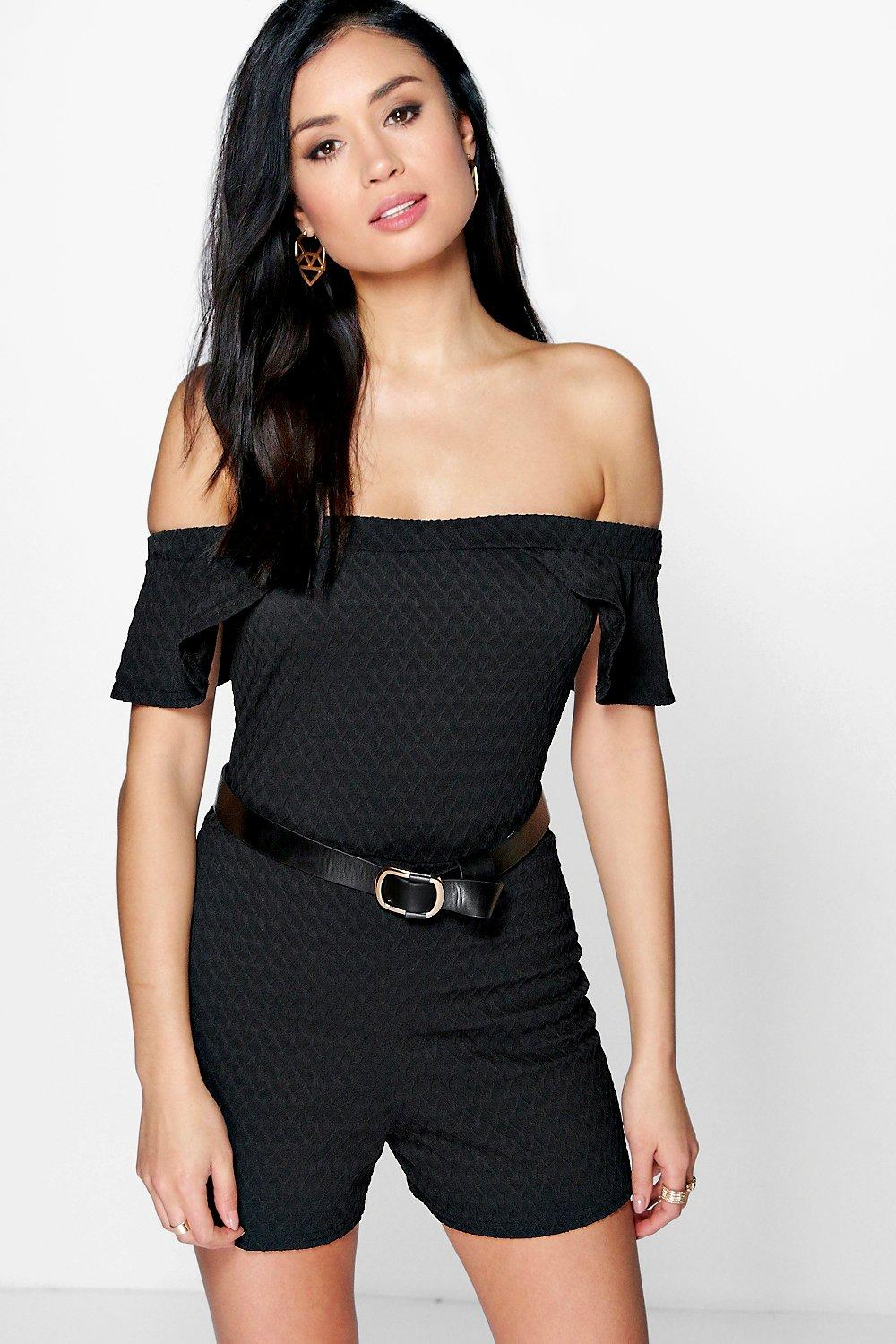 Textured Bardot Frill Playsuit black
