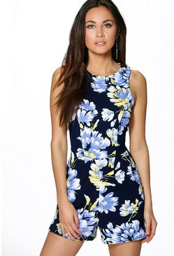 Fiona Floral Print Sleeveless Playsuit