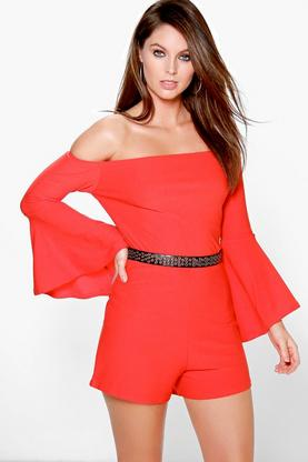 Cara Off The Shoulder Bardot Playsuit