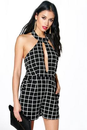 Eva Cut Away Shoulder Grid Check Woven Playsuit