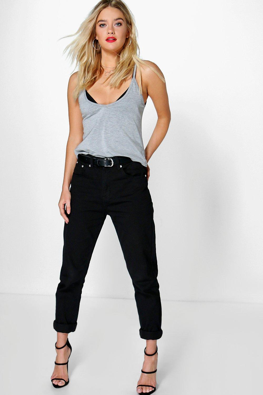 Hatty High Waisted Black Boyfriend Jeans | Boohoo