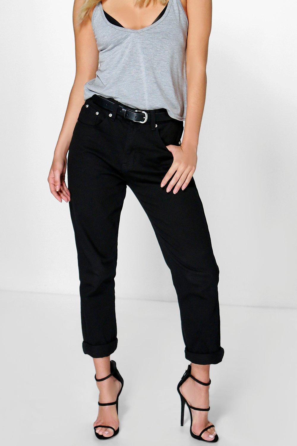 boohoo damen hatty schwarze boyfriend jeans mit hohem bund. Black Bedroom Furniture Sets. Home Design Ideas
