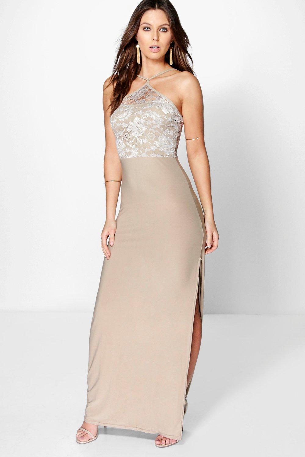 May Lace Slinky Strappy Halterneck Maxi Dress