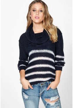 Brooke Loose Stitch Cowl Neck Stripe Jumper