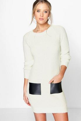 Lacey PU Pocket Jumper Dress