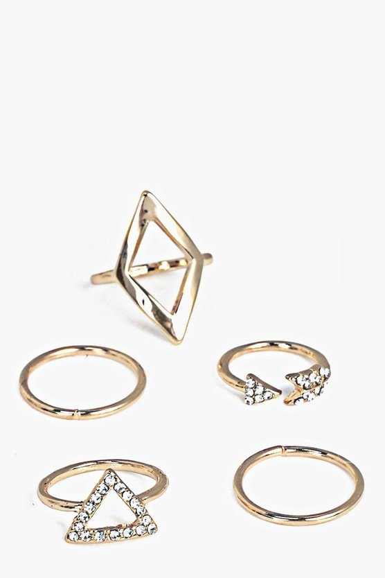 Darcy Gold Mixed Skinny 5 Ring Set