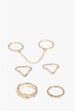 Lara Gold Mixed Chain Detail 5 Ring Set