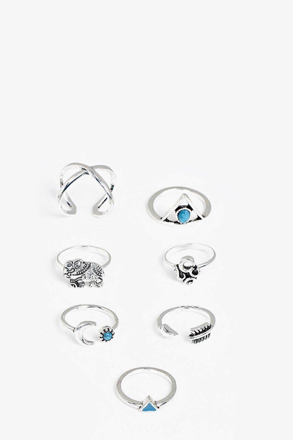 Bella Silver Moon And Stars 7 Ring Pack