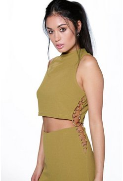 Nina Ring Detail High Neck Crop Top
