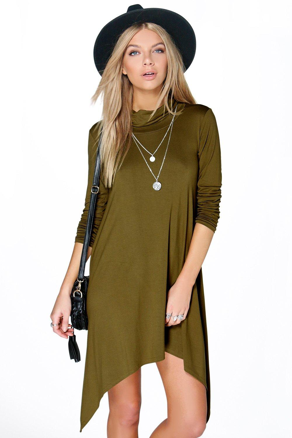 Cara Cowl Neck Asymmetric Swing Dress