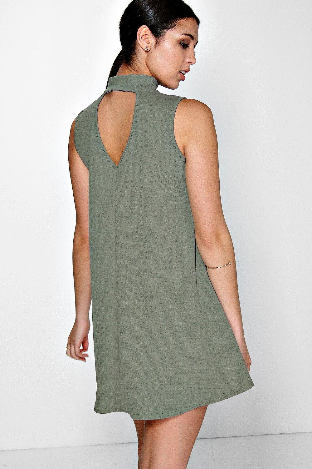 Cut Out Back Swing Dress olive