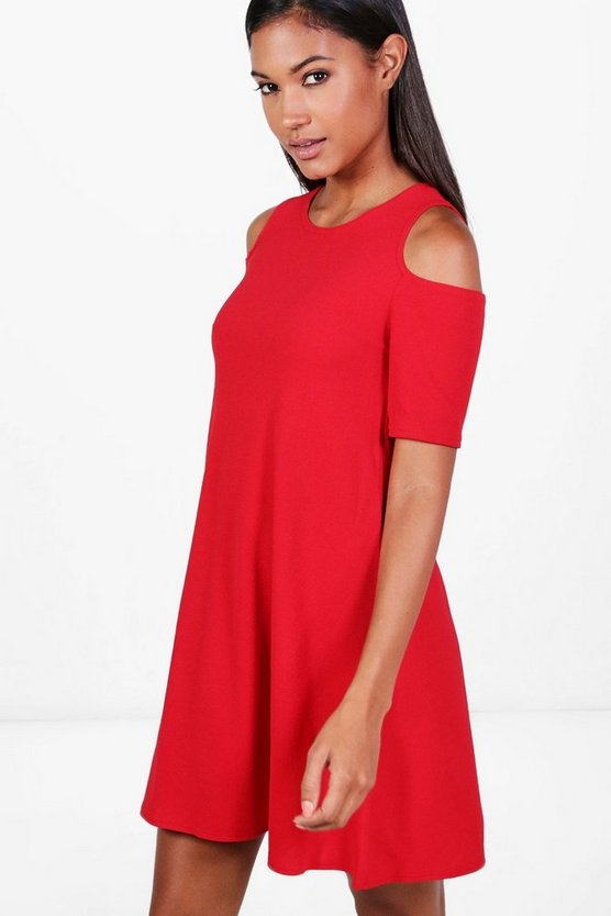 Lizzy Cold Shoulder Swing Dress