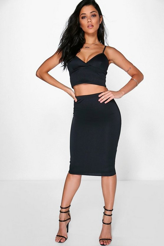 Mya Scuba Cross Bralet & Midi Skirt Co-Ord Set