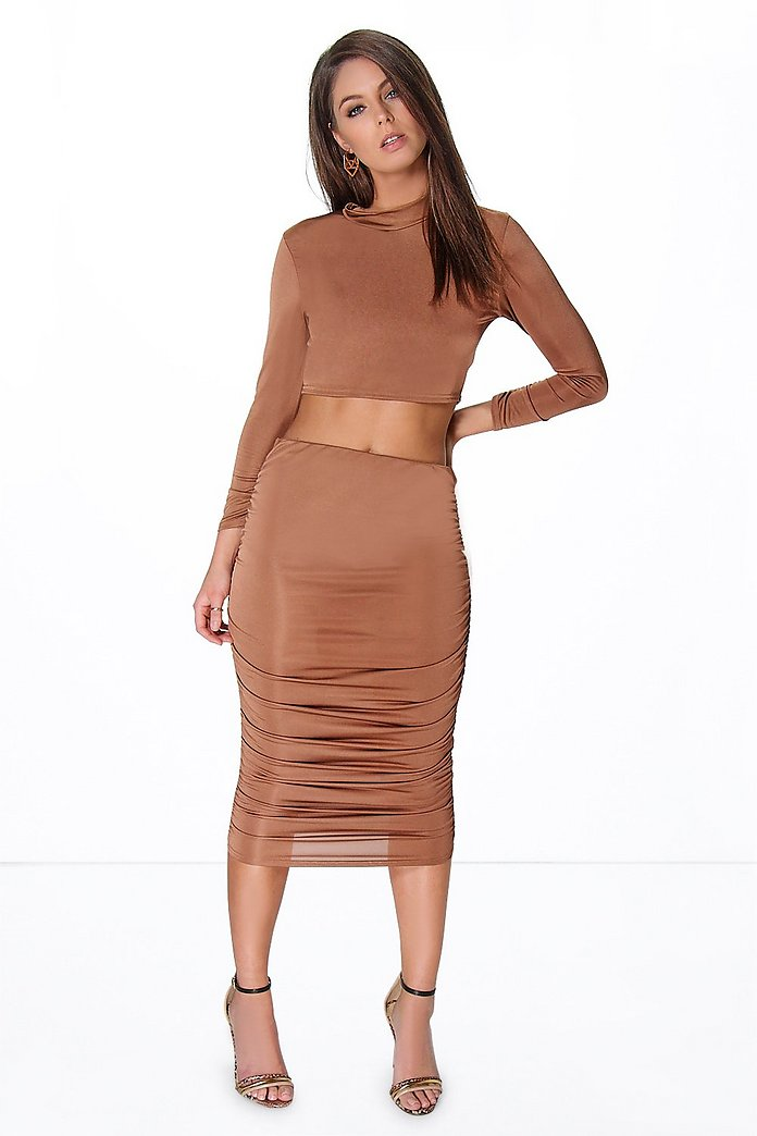Milli Rouched Sleeve Midi Skirt Co-Ord Set