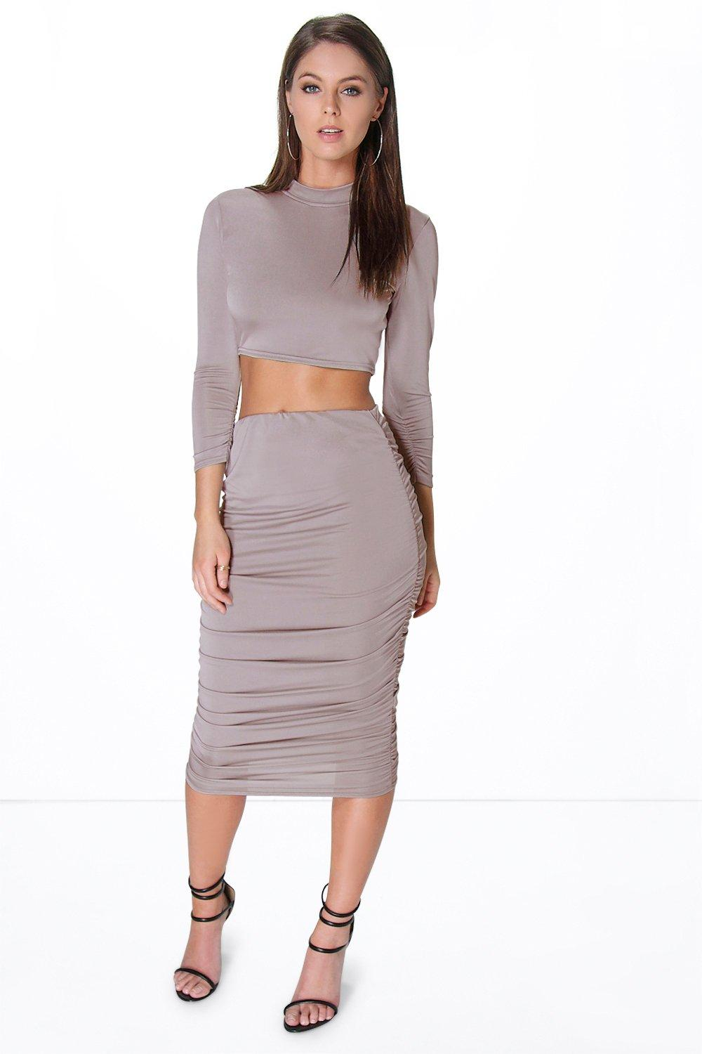milli rouched sleeve midi skirt co ord set boohoo