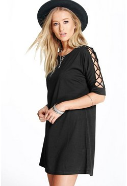 Cristinne Criss Cross Sleeve Shift Dress