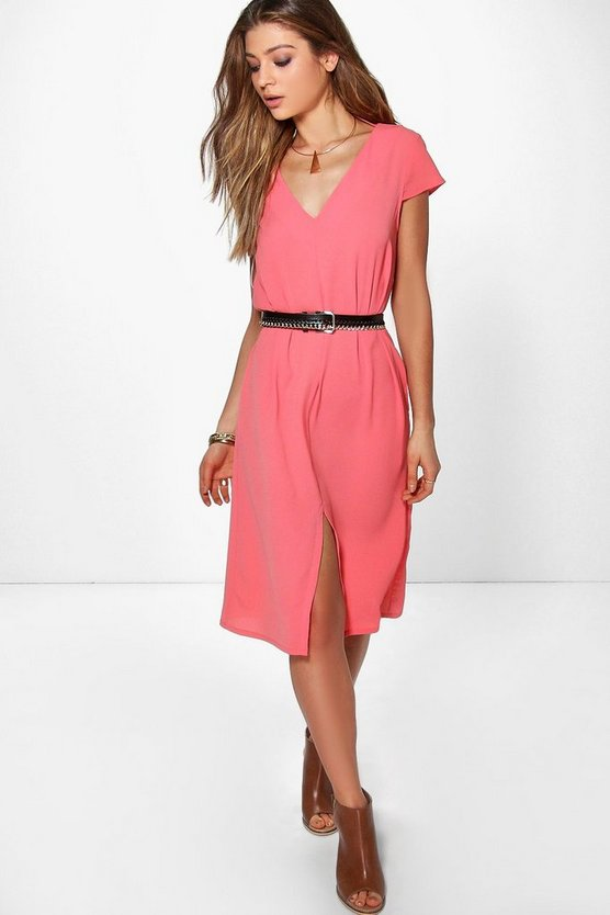 Zaida V Front Split Front Shift Dress
