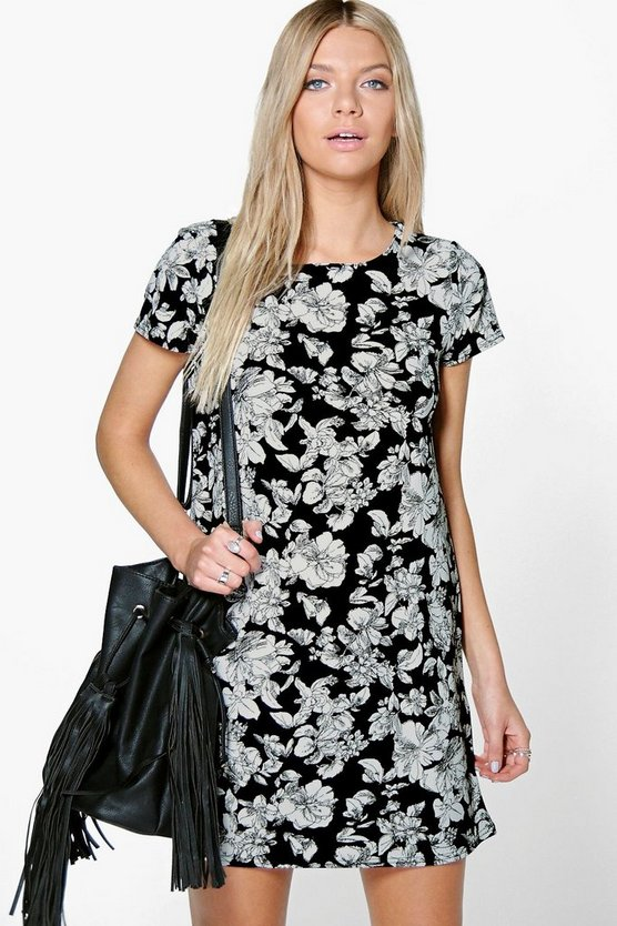 Sandrina Mono Floral Shift Dress