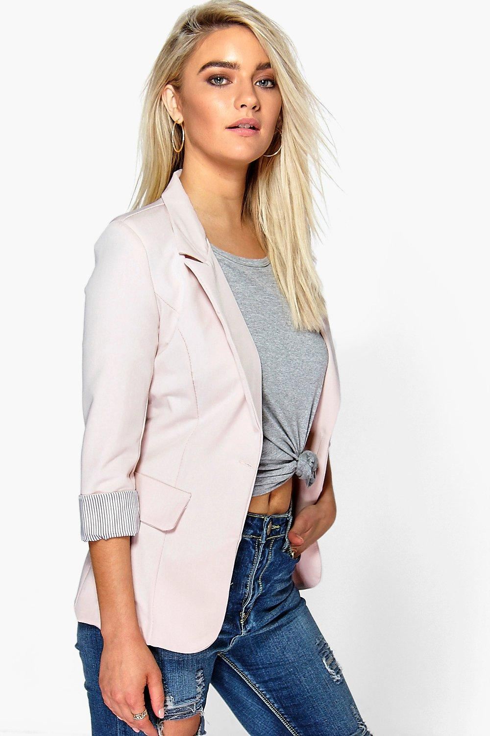 Hollie Turn Up Cuff Woven Blazer