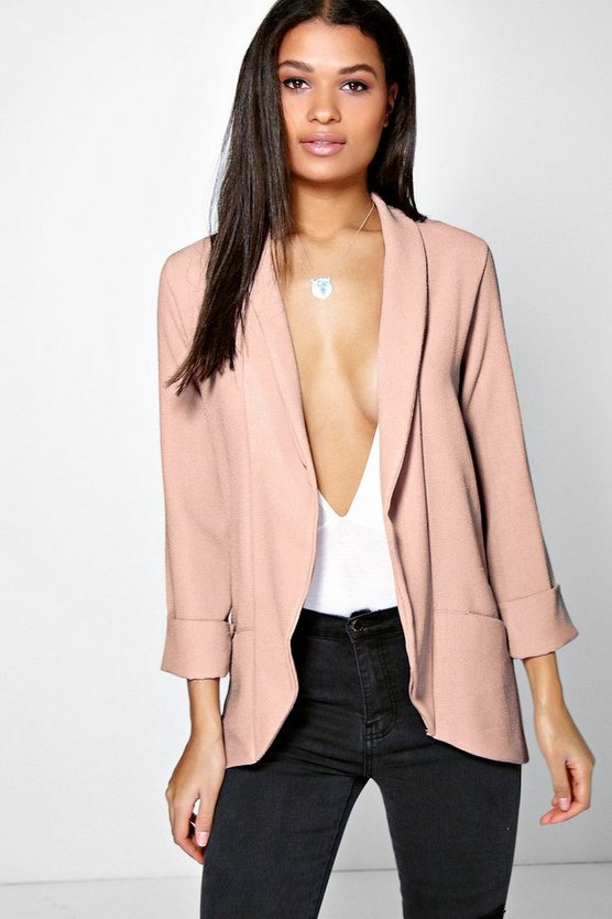 Faith Shawl Collar Woven Crepe Blazer