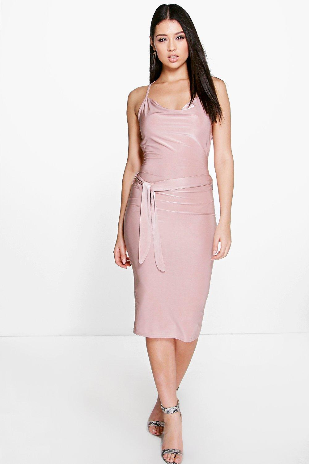 Suki Cowl Drape Strappy Tie Waist Midi Dress