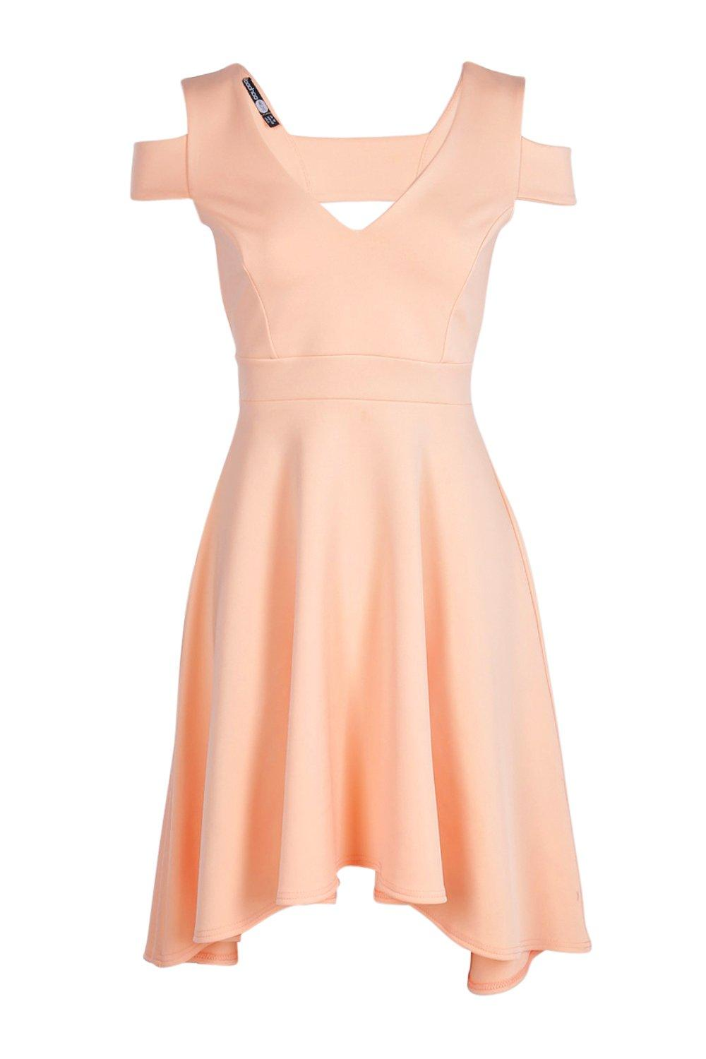 Boohoo womens clea bardot plunge high low skater dress ebay for Boohoo dresses for weddings