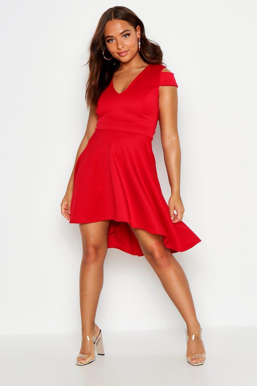 Sale Dresses Bardot Plunge High Low Skater Dress