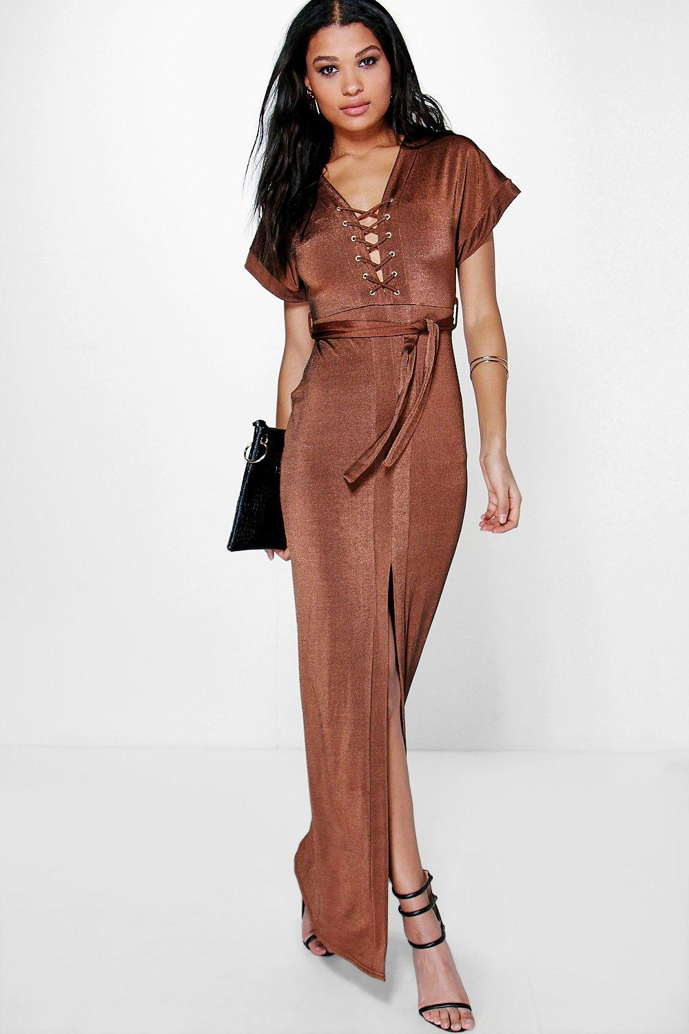 Vanessa Lace Up Belted Split Skirt Maxi Dress
