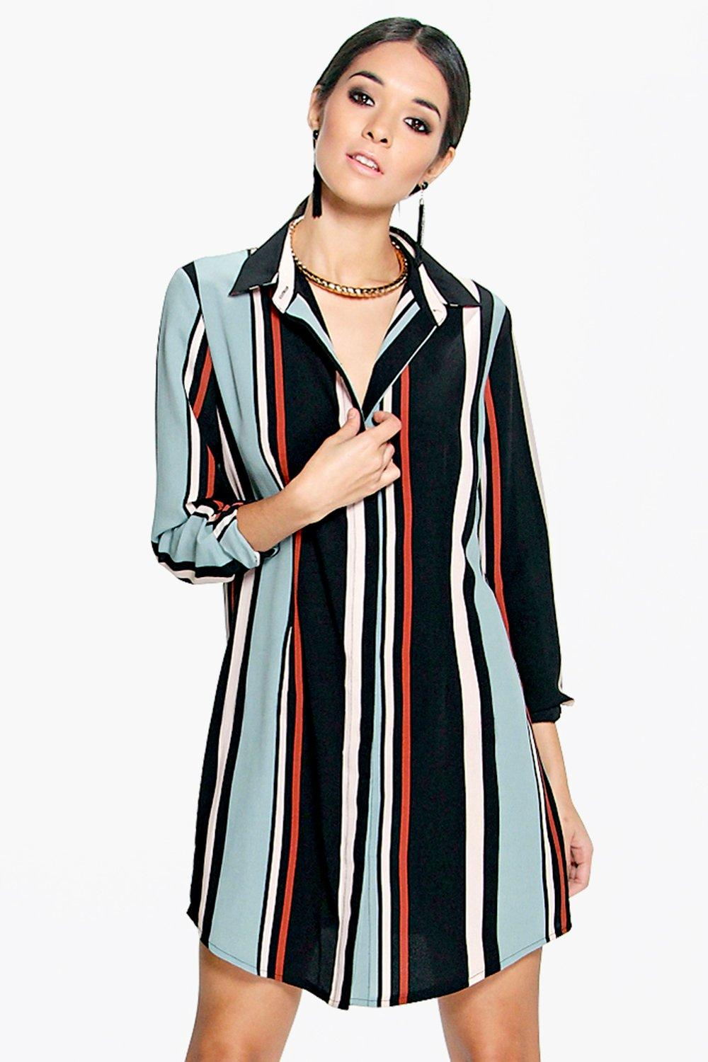 Carmina Long Sleeve Stripe Shirt Dress