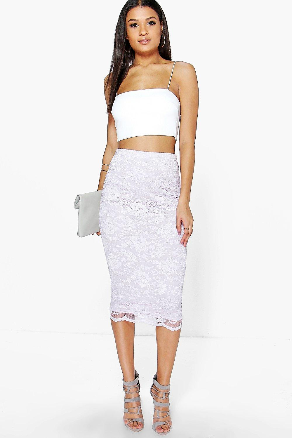 Nina Scallop Trim Longline Lace Skirt