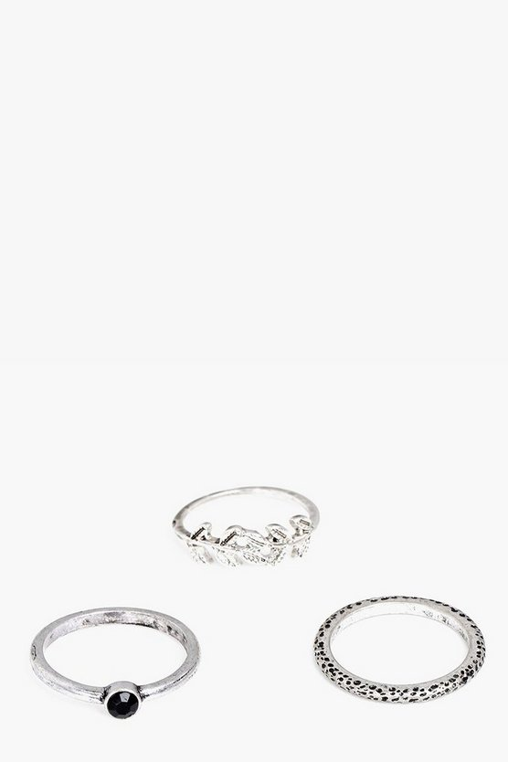 Keira Silver Mixed Skinny 3 Ring Pack