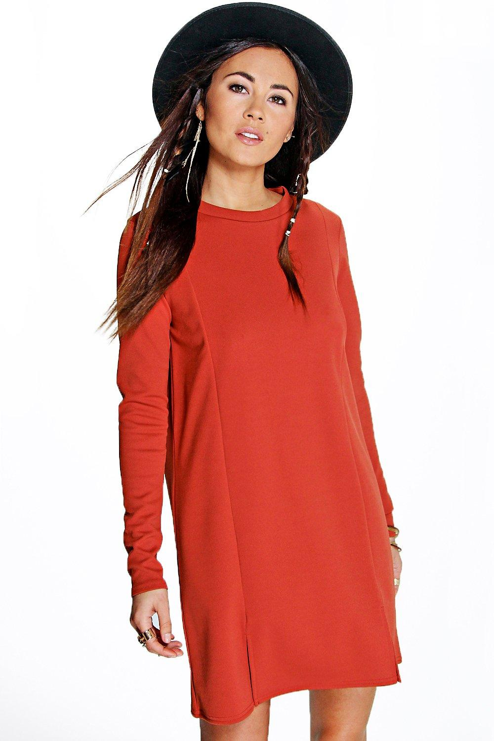 Naira Cut Out Hem Crepe Shift Dress