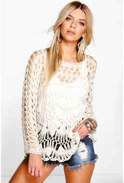 Jessica Long Sleeve Festival Crochet Cover Up