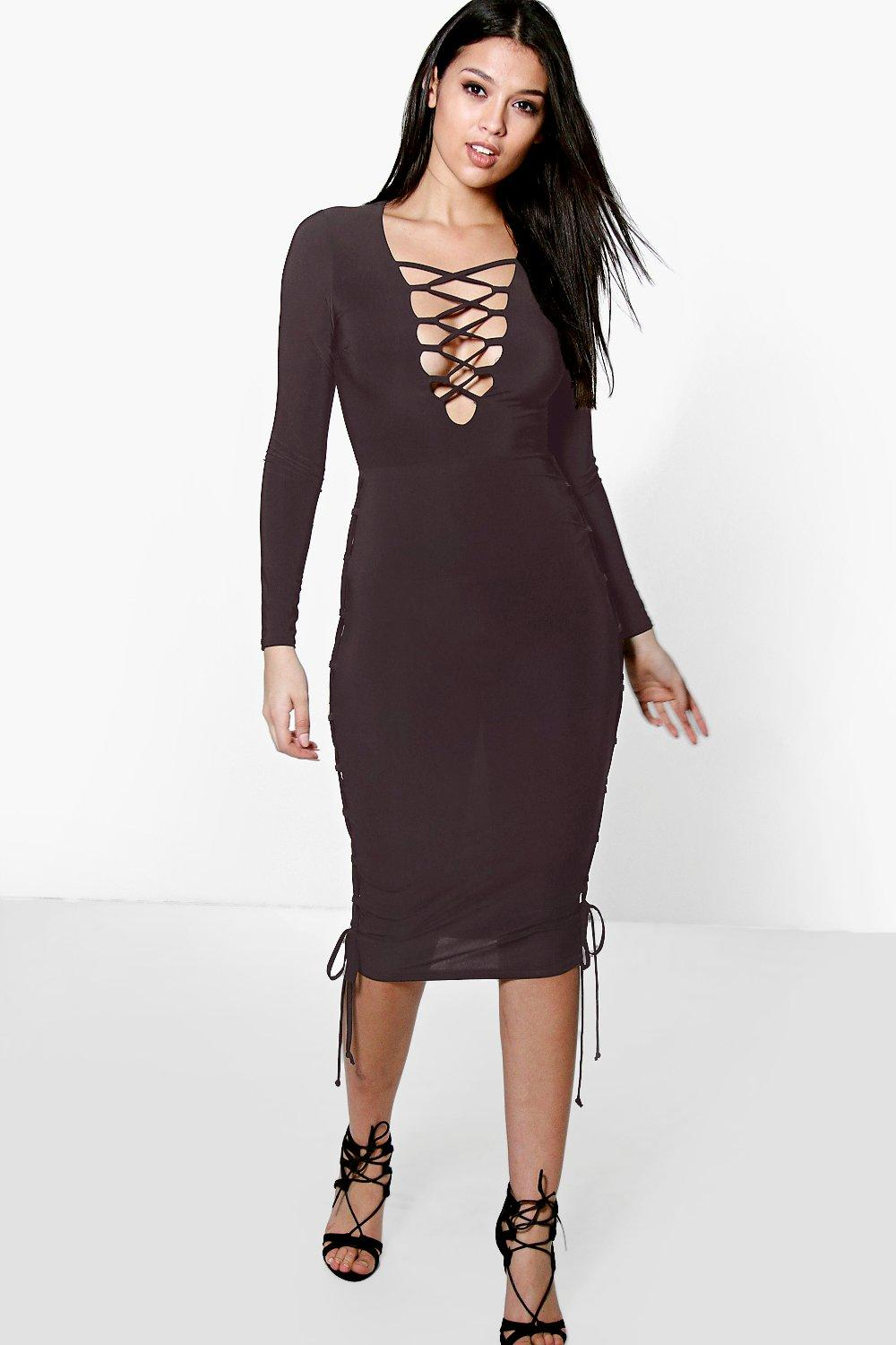 Joy Lace Up Side Detail Plunge Neck Midi Dress