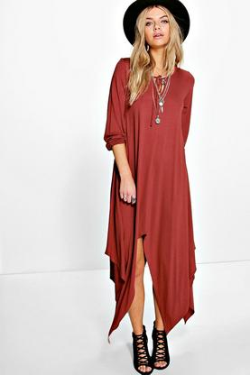 Ava Key Hole Tie Neck Asymmetric Dress