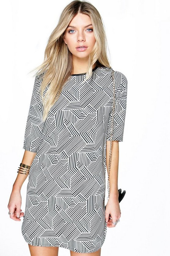 Freya Mixed Mono Shift Dress