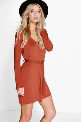 Rose Tie Waist Long Sleeve Plunge Dress