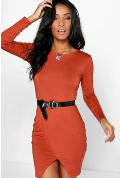 Rita Crew Neck Side Split Bodycon Dress