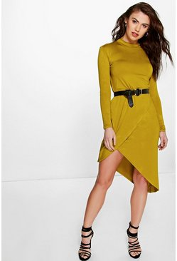 Jenny Long Sleeve Asymmetric Wrap Dress