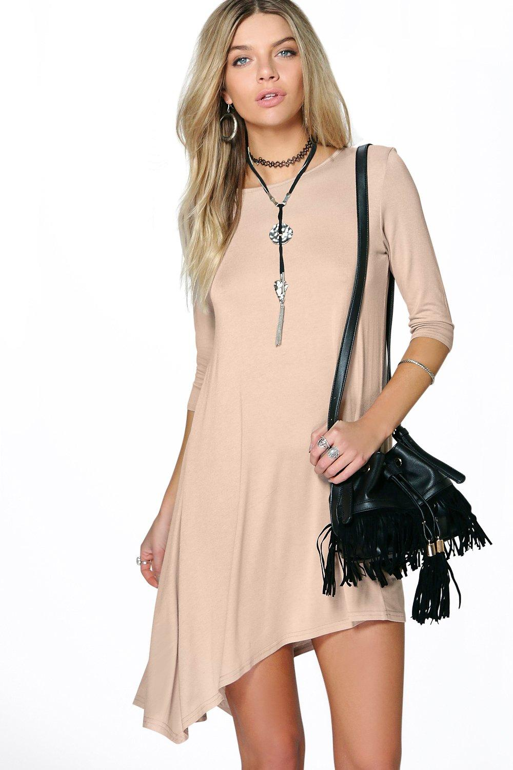 Lizzy Asymmetric Hanky Hem Shift Dress