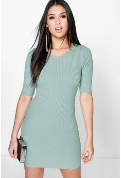 Denise Ribbed Panneled Bodycon Dress