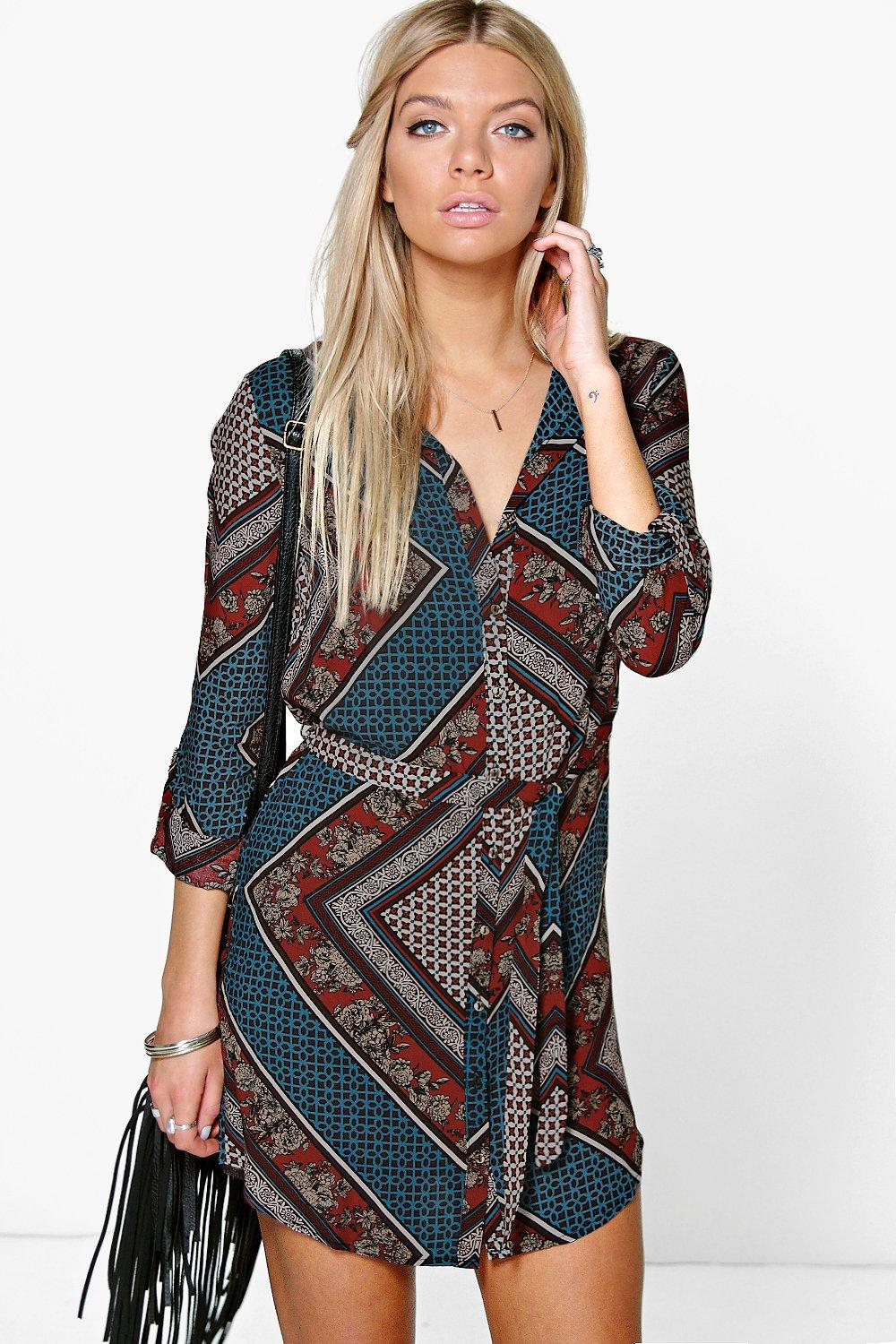 Printed Shirt Dress blue