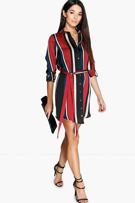Rebecca Striped Shirt Dress
