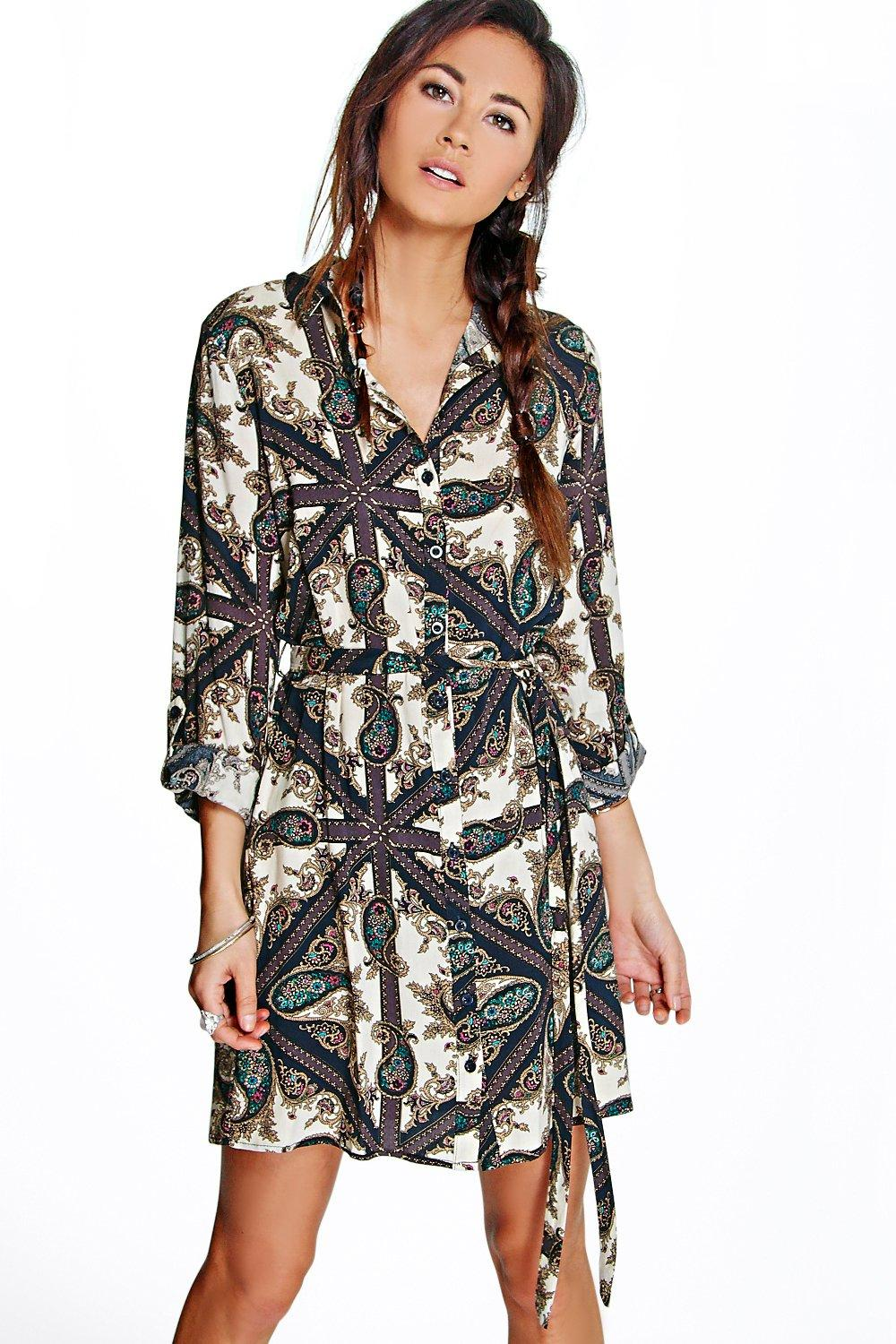 Yasmine Mixed Paisley Shirt Dress